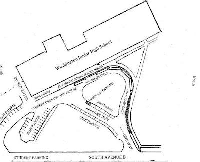 Washington Junior High School's New Parking Plan.<br /> (Washington Junior High School News Release)