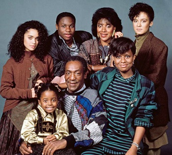 THE COSBY SHOW -- Season 3 -- Pictured: (back row, l-r) Lisa Bonet as Denise Huxtable, Malcolm-Jamal Warner as Theodore &#39;Theo&#39; Huxtable, Phylicia Rashad as Clair Hanks Huxtable, Sabrina Le Beauf as Sondra Huxtable Tibideaux, (front row, l-r) Keshia Knight Pulliam as Rudy Huxtable, Bill Cosby as Dr. Heathcliff &#39;Cliff&#39; Huxtable, Tempestt Bledsoe as Vanessa Huxtable -- Photo by: Alan Singer/NBCU Photo Bank