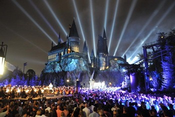 The Wizarding World of Harry Potter at Universal Orlando Resort kicked off its grand opening celebration tonight with help from Harry Potter film stars Daniel Radcliffe, Rupert Grint, Tom Felton, James and Oliver Phelps, Matthew Lewis, Bonnie Wright, Michael Gambon, Warwick Davis.  Hundreds of people gathered in front of Hogwarts castle for a spectacular display of fireworks choreographed to a special performance of music from the Harry Potter films conducted live by renowned composer John Williams. The Wizarding World of Harry Potter will officially grand open to the public this Friday, June 18.