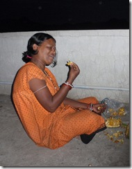 Sushila eating Jackfruit