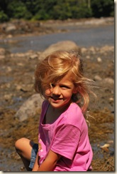 sweet girl at low tide