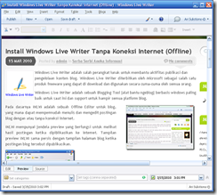 "Screenshoot ""Preview Blog Post pada Windows Live Writer"""