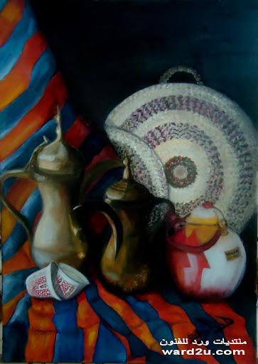 ثلاث لوحات زيتيه واهداءات خاصه من اعمالي