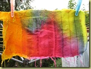 cottons and silks stitched with an embellisher and dyded with Procion dye
