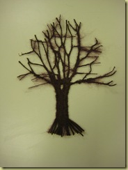 Chri's tree, made from the open weve embroidery technique