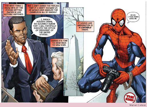 Obama with Spider-man