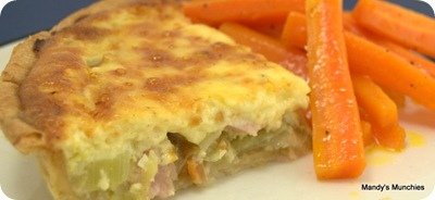 Leek and bacon quiche slice
