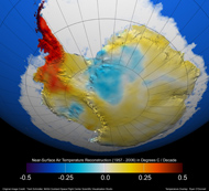 Antarctic temperature trends reanalyzed