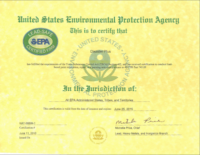 Disaster Plus earns EPA Standard for Lead Certified Firm