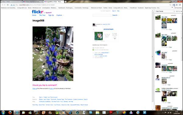 Flickr updates in Flock sidebar
