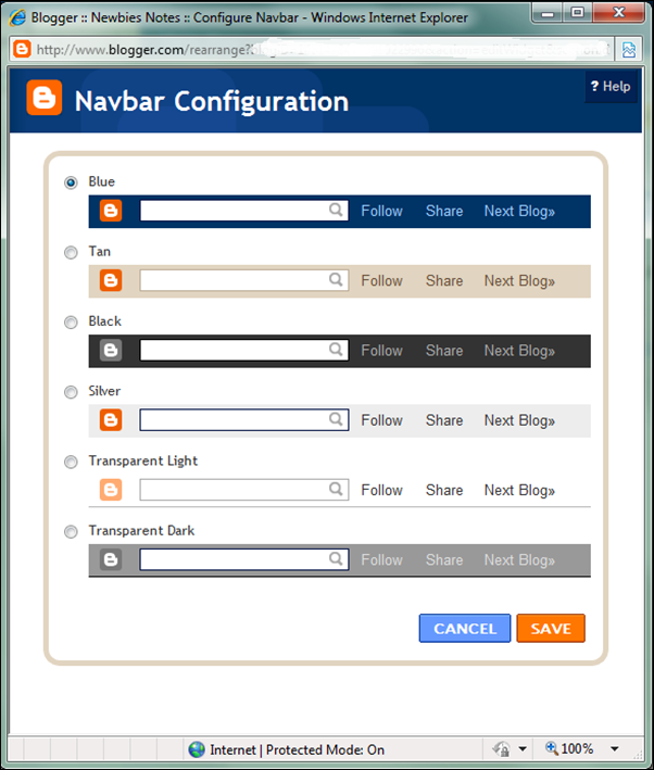 Choosing your Navbar colour
