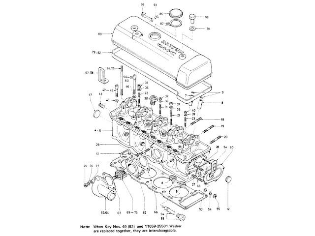 Datsun Fairlady Parts illustration no.002A-1Cylinder Head 2000 (U20)