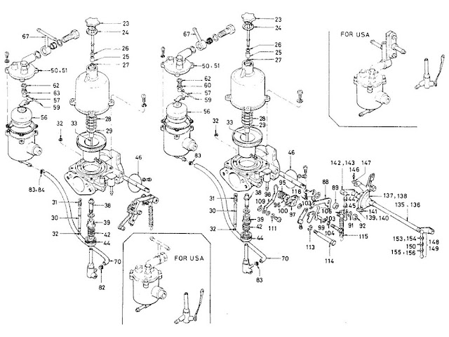 "Datsun Fairlady Parts illustration no. 008-2 Carburetor 1600 (R16) ""SU"" [2]"