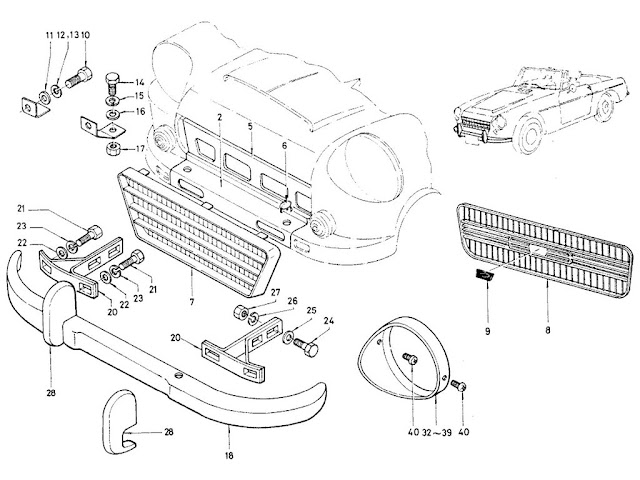 Datsun Fairlady Parts illustration no. 054-1 Front Outside View