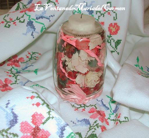 Manualidades la ventana de maria del carmen reciclado - Porta velas navidenas ...