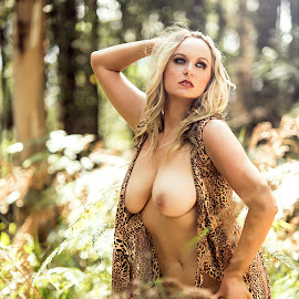 Amazon Woman by Kelly Kooper - Nudes & Boudoir Artistic Nude ( model, leopard print, topless, nude, forest )