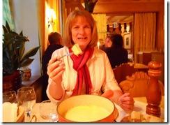 pam eating fondu