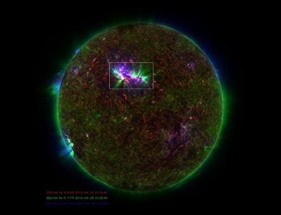 espículas no Sol observadas pela sonda SDO