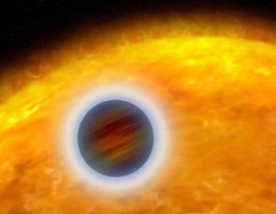 ilustração do exoplaneta WASP-33b e sua estrela