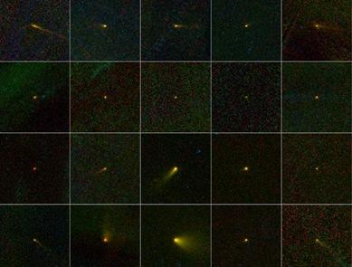 mosaico de cometas descobertos pelo WISE