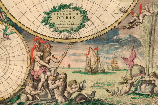 Dark roasted blend unusual and marvelous maps this very decorative world map with antarctica as well as parts of north america still absent was produced in amsterdam in 1689 gumiabroncs Images