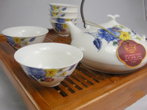 The tea set is crafted in the world-famous Jingdezhen