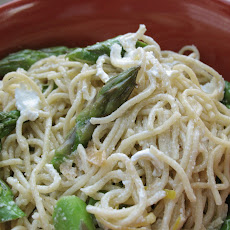 Capellini with Asparagus, Goat Cheese and Truffle Oil