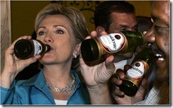 Hillary having a  Presidente Beer in Puerto Rico