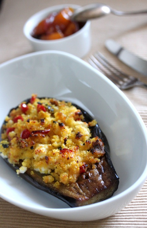 Μελιτζάνες γεμιστές με κουσκους/Eggplant stuffed with couscous
