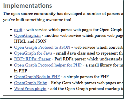 Open Graph Protocol implementations