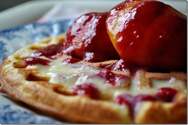 peach melba waffles