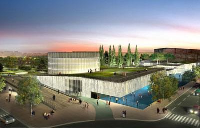 CREAA , recreacion virtual del proyecto centro de creacion de las artes de Alcorcon en el parque de los castillos