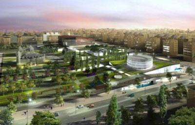 CREAA , panoramica virtual del proyecto del centro de creacion de las artes de Alcorcon en el parque de los castillos