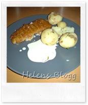 Panerad torsk filé och färsk potatis
