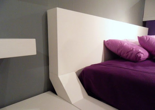 Trendy Bedroom Layout in White and Purple Furniture