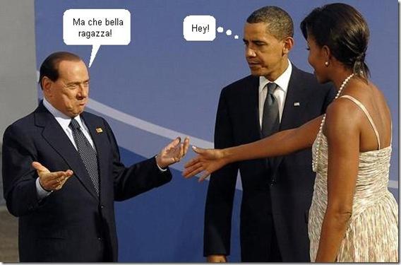 Berlusconi e Michelle com diálogo