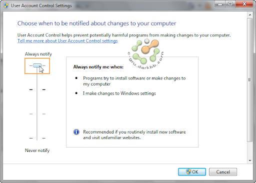 การกำหนดระดับการทำงานของ UAC (User Account Control) ใน Windows 7 Uac5