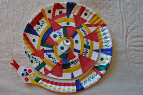 Colorful snake made by parsha projects. & kids craft directory: Paper plate craft
