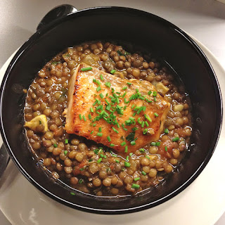 Green Lentils with Pan Fried Salmon