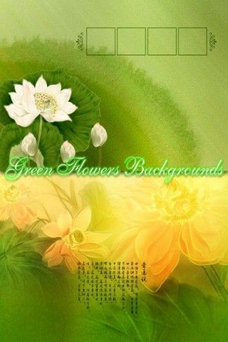 PSD Source - Green Floral Backgrounds