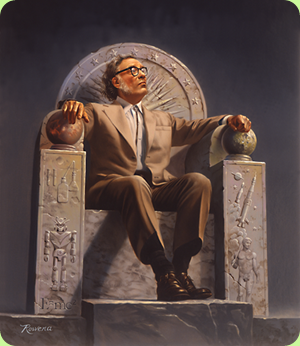 Isaac_Asimov_on_Throne