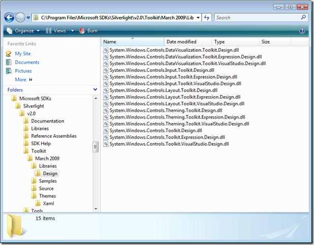 C:Program FilesMicrosoft SDKsSilverlightv2.0ToolkitMarch 2009LibrariesDesign
