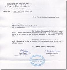 Salutación Biblioteca Popular Carlos María de Alvear