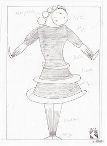 Werkskizze zu Figur 9 - Tänzerin im Reifenrock