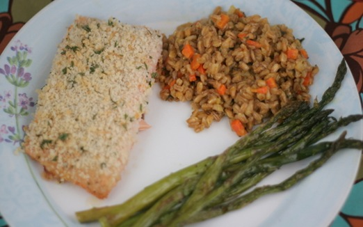 farrow risotto and salmon