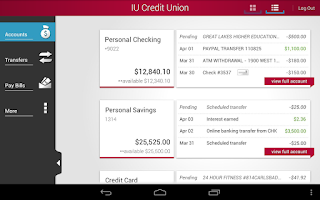 Screenshot of IU Credit Union Mobile Banking