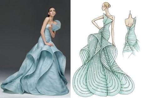 desenho croqui e modelo vestida