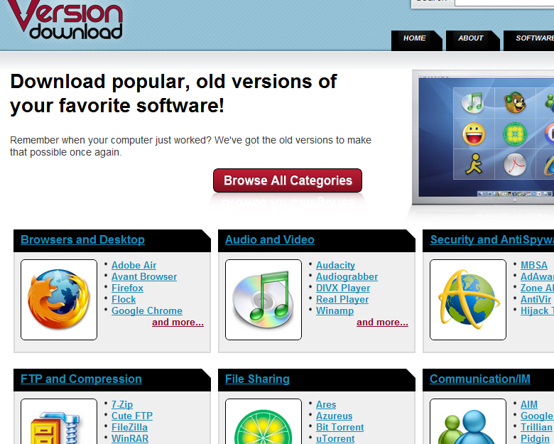 Download Free Old Versions of Almost All Popular Software ...