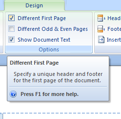 How To Make a Different First Page Header and Footer In Word