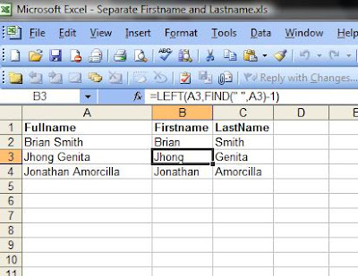 Excel: Extract Firstname and Lastname from FullName